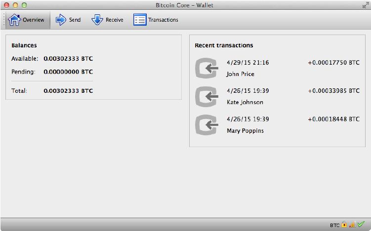 пример работающего кошелька Bitcoin Core